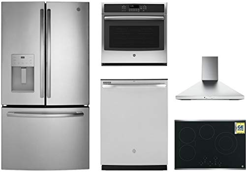 "5-Piece Kitchen Appliance Package with 36"" French Door Refrigerator 30"" Electric Cooktop 30"" Wall Mount Hood 30"" Electric Single Wall Oven and 24"" Built In Dishwasher in Stainless Steel"