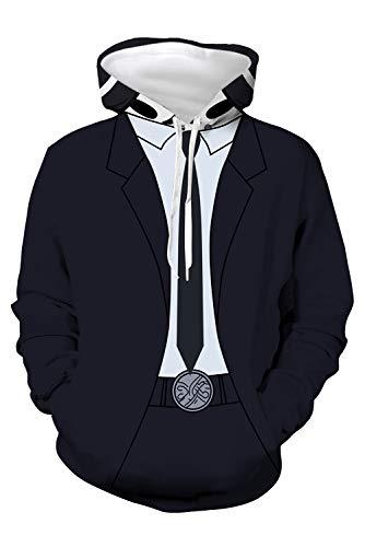 Enhopty Sudadera con capucha para hombre y mujer, diseño de máscara de la Sniper Yuka Makoto, color negro (contorno del pecho 119 cm)