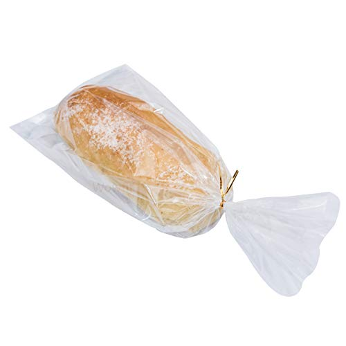 Wowfit Bread Poly Bags(PE material) – Pack of 100 Entirely Transparent Clear Bakery Bags – Bread Packing Bags with 100 Gold Twist Ties – 6x3x15-Inch Grocery Bread Bags