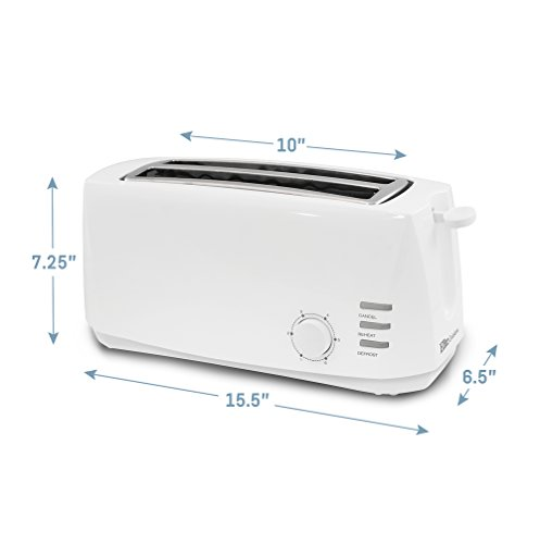 Elite Gourmet Long Cool Touch 4-Slice Toaster Extra Wide 1.25
