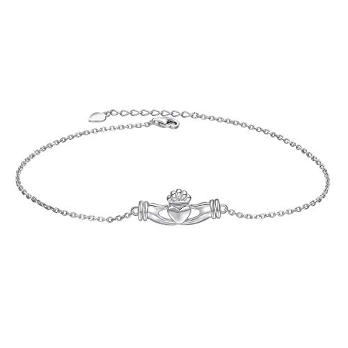 S925 Sterling Silver Adjustable Foot Chain Claddagh Ankle Bracelet Anklet Jewelry for Women Girl Birthday Gift Love Gift (Claddagh)