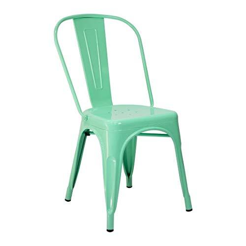 Vaukura Silla Tolix - Silla Industrial Metálica Brillo (Verde Menta)