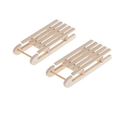 perfeclan 2pcs Mini Trineos de Casa de Muñecas Sin Pintar,
