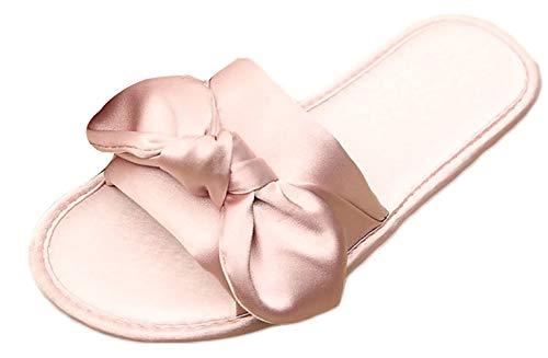Sandalias y Zapatillas para Mujer Arco de satén Sandalias para el hogar Antideslizantes Respirable para el hogar Zapatillas de Novia para la Mujer Verano