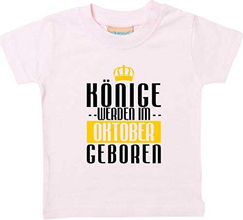 Shirtstown Bébé Kidst-Shirt Rois Seront dans Octobre Né - Rose, 0-6 Monate