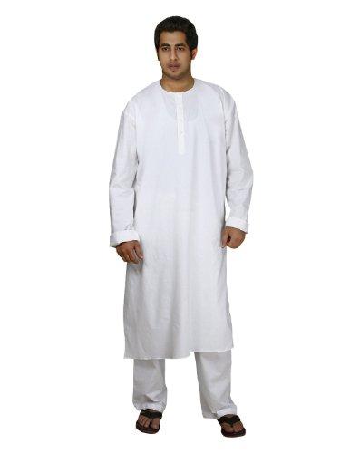 Handmade White Cotton Men's Kurta Pajamas Set - Traditional Indian...