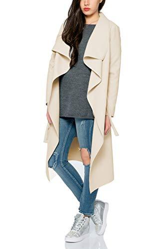 Kendindza Damen Mantel Trenchcoat mit Gürtel OneSize Lang und Kurz (OneSize, Beige Lang)