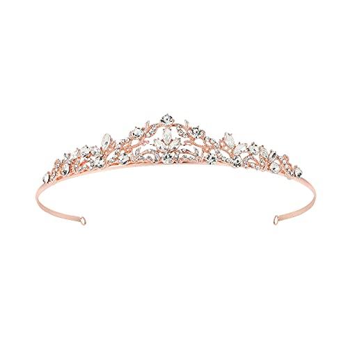 Minkissy Kristall Rebe Braut Diademe Strass Krone Wassertropfen Vintage Hochzeit Kopfbedeckungen Bräute Stirnbänder Hochzeit Haarschmuck (Roségold)