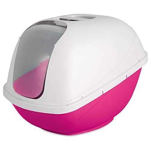 Petmate Basic Hooded Cat Litter Pan, Large, Pink and White