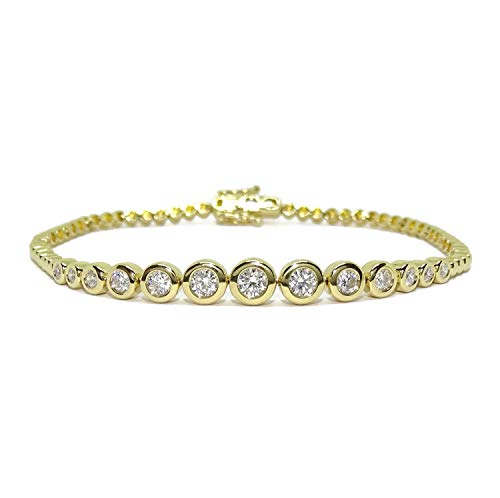 Never Say Never 18k Yellow Gold Bracelet for Women with 13 Brilliant Cut Diamonds 0.95ct and Original Circle Chain 17.5cm Long. 10g 18k Gold