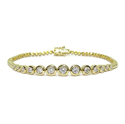 Never Say Never - Bracciale da donna in oro giallo da 18 carati, con 13 diamanti taglio brillante da 0,95 ct, con catena originale a cerchi, 17,50 cm di lunghezza, 9,05 g in oro, 18 carati