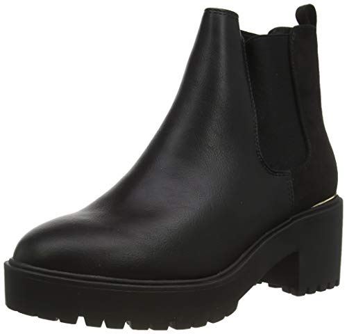 New Look Damen Civil - Pu Chunky Metal Detail: 1: s209 Kurzschaft Stiefel, Schwarz (Black 1)