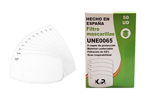Pack de 50 filtros para mascarillas de tela de adultos - 4 capas de protección - 92{5fcf701591ede0600a08c54a833efbcb766eda7401f480036a700bb8201a7fae} de filtración - fabricados en ESPAÑA