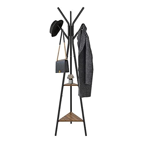 Meerveil Porte-Manteau sur Pied, Vestiaire, Portant à Vêtement, 6 Patères et 2 Étagères, Meuble d'entrée, 50 x 50 x 180 cm, Marron et Noir
