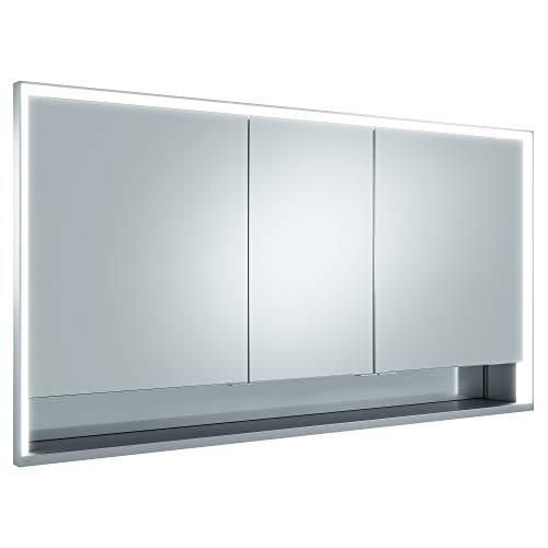 Keuco Spiegel-Schrank Unterputz Einbau, mit Variabler LED-Beleuchtung dimmbar, mit Aluminium-Korpus, mit 3 Türen, 140x73,5x16,5 cm Royal Lumos