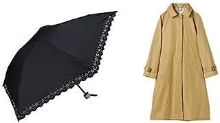 【セット買い】ワールドパーティー(Wpc.) 日傘 折りたたみ傘  ブラック 黒  50cm  レディース 傘袋付き 遮光軽量 ヒートカット ミニ 801-508 BK+レインコート ポンチョ レインウェア ベージュ FREE レディース 収納袋付き R-1102 BE