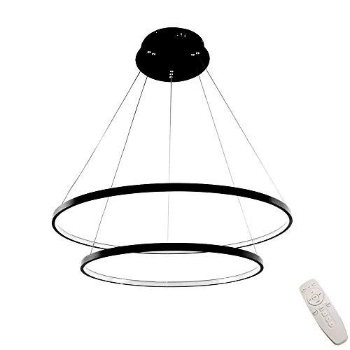 Modern Rund LED-Hängeleuchte 2-Ring Design Schwarz Pendellampe Dimmbar Fernsteuerung Verstellbar Pendelleuchte für Wohnräume Schlafzimmer Esszimmer Küchen Deckenlampe,φ40+60CM