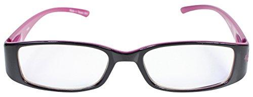 パール 老眼鏡 リーディングラス ブルーライトカット CSTADO スクエア ブラック +1.0 度数 LT-P009BK PK +1.0 女性用