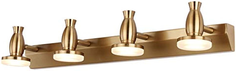 SXFYWYM Retro Gold DREI-kpfiges Spiegel-Licht, das Badezimmer-feuchtigkeitsfeste Malerei-Scheinwerfer dreht,Weißlight,62cm