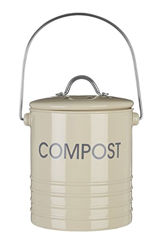 Best Buy! Premier Housewares Cream Compact Waste Compost Bin Tin with Handle
