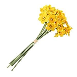 Silk Flower Arrangements EBSALOK 6Pcs Artificial Narcissus Flower,Eco-Friendly Anti-Fade Fabric Daffodils Flower,Garden Artificial Bouquet Bridal Wedding Bouquet for Home Garden Wedding Party Decorations Yellow