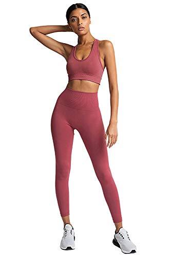 BABYONLINE D.R.E.S.S. Damen 2 Stücke Set Outfit Sport Sportanzug aus Push Up Sport BH Racerback und Yoga Leggings Set Slim Fit Traininganzug