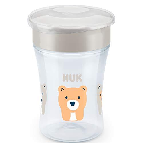NUK Magic Cup Trinklernbecher | auslaufsicherer 360°-Trinkrand | ab 8Monaten | BPA-frei | 230ml | Bär (transparent) | 1Stück