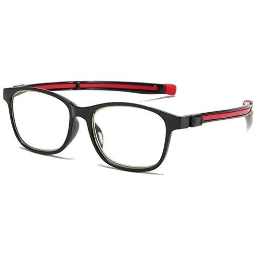 Reading Glasses Gafas con Bloqueo de Luz Azul Cómodas Gafas HD para Ojos Antideslizantes Lentes Transparentes Pie Telescópico Gafas para Juegos de Computadora para Mujeres y Hombres