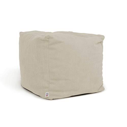 Arketicom Soft Cube - Puff de salón con reposapiés, suave, cuadrado, extraíble, 42 x 42 cm, color marfil