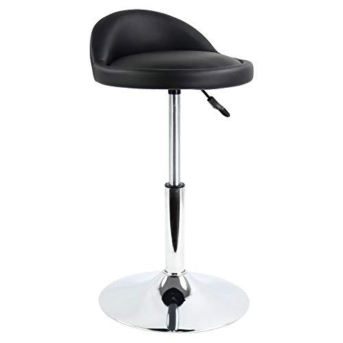 FURWOO - Sgabello da bar con schienale basso, regolabile, in pelle PU, con telaio per reception, ufficio, salone, colore: nero