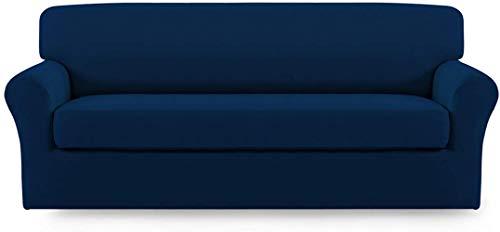 Mazu Homee Juego de 2 sofás elásticos de fibra ultrafina, juego de sofá suave de elastano, funda protectora de muebles desmontable, parte inferior elástica adecuada para niños y mascotas (sofá, lino).
