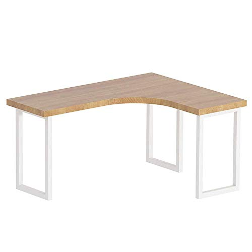 Living Equipment Escritorio de estudio Moderno, simple, grande, en forma de L, esquina, madera y metal, escritorio para computadora de escritura para oficina en casa, oficina en casa, mesa para PC