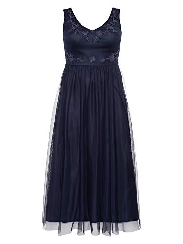Sheego Damen Abendkleid mit weit schwingendem Rockteil Marine, 56