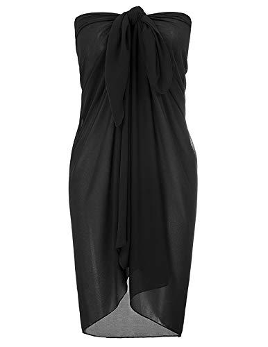 Kate Kasin Frauen Sommer Strand Chiffon Sommer Bikini Kleid Bikini vertuschen für Urlaub schwarz 1226