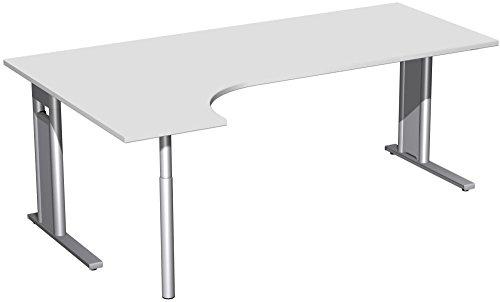 PC-Schreibtisch links starr, C Fuß Blende optional, 2000x1200x720, Lichtgrau/Silber, Geramöbel