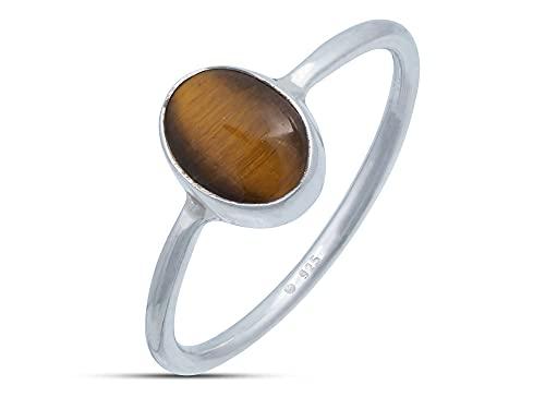 Anillo de plata de ley 925 ojo de tigre (No: MRI 100), Ringgröße:54 mm/Ø 17.2 mm