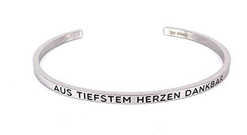 MEIN MANTRA by alexa Armreif - Spruch nach Wahl sh. Beschreibung - Farben: Silber/Roségold/Gold (Silber, Größe M-L (Standardgröße))