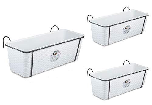 3 Stück Pflanzkasten im Rattan Design mit Integriertem Wasserspeicher und Metallrahmen für Geländer Aller Art oder zum Aufstellen, Maße B 50 x H 18 x T 16 cm, Farbe weiß