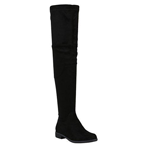 stiefelparadies Damen Leicht Gefütterte Langschaftstiefel Overknees Velours Boots Schuhe 150335 Schwarz Schleifen Brooklyn 39 Flandell