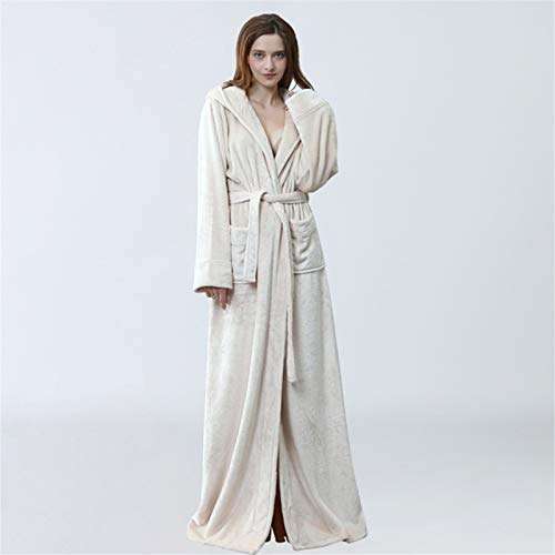 Pyjamas Womens Flanell Lange Robe Warme Fleece Häuser-Hausköpfe Solide Bademäntel...