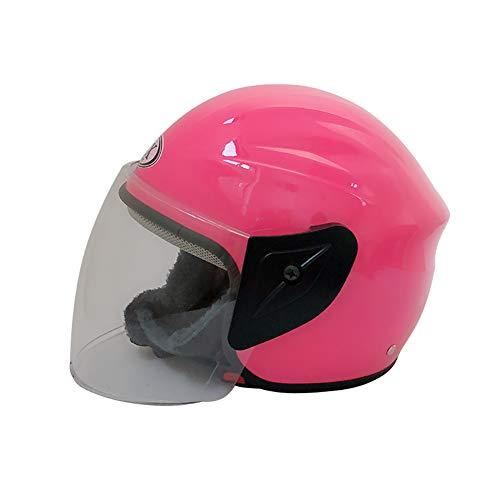 ZWL Moto Casque Locomotive Équitation Demi Casque Hommes et Femmes l'hiver La tête Protection,Pink