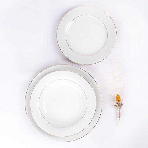 Juego de 18 platos de porcelana blanca Filo de Oro - 6 platos llanos grandes, 6 platos hondos, 6 platos pequeños de postre | BREMEN