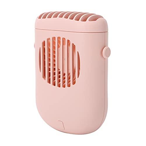 Mini Ventilador de Mano, Ventilador de Cuello Colgante Mini Ventilador Portátil con Cordón para la Oficina en Casa, Viajes Al Aire Libre, Rosa