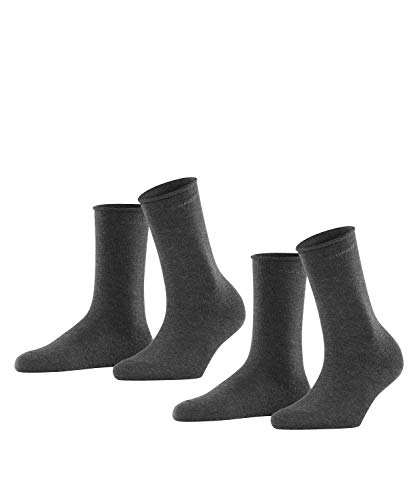 ESPRIT Damen Basic PURE 2-Pack W SO Socken, Blickdicht, Grau (Anthracite Melange 3080), 35-38 (UK 2.5-5 Ι US 5-7.5) (2er Pack)