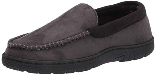 Hanes Men's Moccasin Slipper House Shoe With Indoor Outdoor Memory Foam Sole Fresh Iq Odor Protection, Grey, Large