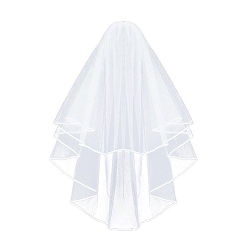 Frcolor Brautschleier, Elegent Bridal Tüll mit Kamm Schleier Ribbon Edge (weiß)