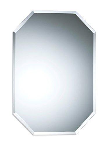 Schöner achteckiger Badezimmerspiegel, modern und stylish, mit abgerundeten Kanten, Wandbefestigung, Badspiegel, Wandspiegel, Spiegel 70cm X 50cm