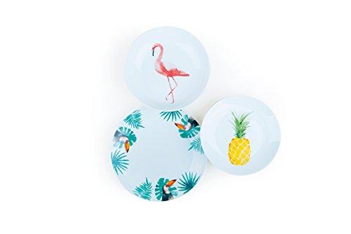 Excelsa, Tropical - Juego de Vajilla de 18Piezas, de Porcelana Color Blanco con Decoraciones