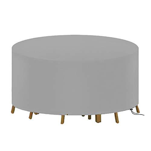 YGWQ Cubiertas para muebles de jardín, tela Oxford 420D redonda para mesa de jardín con cordón resistente al viento, fundas para muebles de patio, impermeables, resistentes al viento, antirayos UV