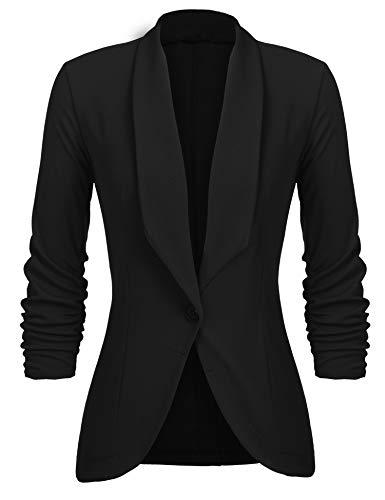 Unibelle Damen Blazer Cardigan Dünn 3/4 Längere Elegant Leicht Bolero Jacke Blazer Slim Fit Anzug Trenchcoat , A-schwarz,...